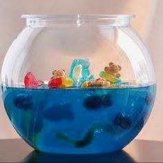 Fun for kids! Blue raspberry jell-o, teddy grahams, lifesavers, gummy worms and more...