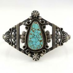 Vintage Number Eight Turquoise Cuff by Vintage Collection - Garland's Indian Jewelry
