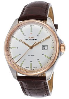 Image for Men's Combat 6 Auto Brown Gen Leather Silver-Tone Dial Rose-Tone Bezel from World of Watches