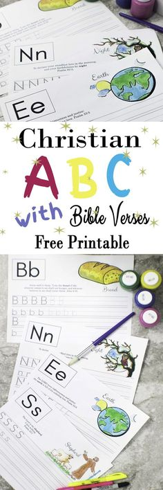 Practice your ABC with Bible Verses – Free Printable Tracing letters and learning new bible verses was never so easy for your kids! Find all the ABC letters for FREE! No tricks, no subscription needed. Preschool Bible, Bible Activities, Preschool Learning, Preschool Activities, Teaching, Alphabet Activities, Bible Resources, Preschool Alphabet, Preschool Printables