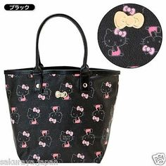 Hello Kitty Black Mini Tote Bag Shoulder Purse Pouch Sanrio from Japan Gift