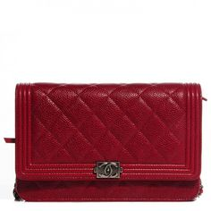 CHANEL Caviar Quilted Boy Wallet On Chain WOC Red