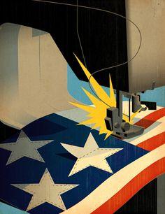 Tavis Coburn -  An illustration for Transworld Business about US based manufacturing ::: www.dutchuncle.co.uk/tavis-coburn-images