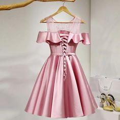 Homecoming Dresses,Short Prom Dress.. Short Prom, Short Pink Prom Dresses, Homecoming Dresses, Formal Dresses, Girls Dresses, Dress Making, Pink Satin, Off The Shoulder, Cold Shoulder