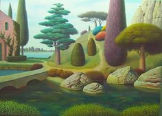 Garden with pinHouse and fishes   by Evgeni Gordiets