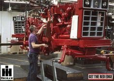 farmall works 66 series on assembly line. Case Ih Tractors, Big Tractors, Farmall Tractors, Red Tractor, Ford Tractors, International Tractors, International Harvester, Antique Tractors, Vintage Tractors