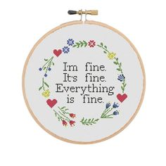Sarcastic Cross stitch pattern Quote I'm Fine It's | Etsy Pattern Quotes, Cross Stitch Quotes, Funny Cross Stitch Patterns, I'm Fine, Everything Is Fine, Daughter Of God, Fabric, Etsy, Tejido