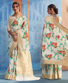 Off white floral weaving print silk saree for party Saree Styles, Blouse Styles, Off White Saree, Plain Saree, Indian Silk Sarees, Silk Sarees Online, Off White Color, Embroidered Silk, Saree Collection