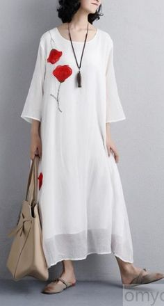 brief natural silk blended dress oversized Women Flower Embroidery Three Quarter Sleeve White Dress Summer Dress Outfits, Casual Summer Outfits, Casual Dresses For Women, Half Sleeve Dresses, Dresses With Sleeves, Loose Dresses, Linen Dresses, Cotton Dresses, Cocoon Dress