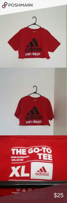 d018c4624badd SOLD DEPOP- Red Adidas Crop Top This crop top is in amazing condition and  in size extra large.