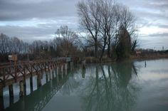 la passerella sul fiume Sile (ora chiusa), vicino al Lago Verde e a Silea