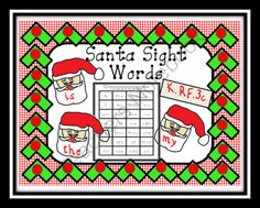 Santa Sight Words from Can You Read It on TeachersNotebook.com (28 pages)  -  http://www.teachersnotebook.com/product/CanYouReadIt/santa-sight-words Santa Sight Word Fun.  Your students will love playing Santa Sight Word Ho Ho Ho.  Use these cards to play concentration or even as flashcards too.  An assessment is included to monit