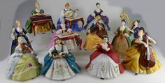 Lot 115 - A complete collection of Royal Doulton musician figures comprising Cello HN2331, Virginals HN2427, Lute HN2431, Violin HN2432, Harp HN2482, Flute HN2483, Cymbals HN2699, Chittarone HN2700, Dulcimer HN2798, Hurdy Gurdy HN2796, French Horn HN2795 and Viola D'Amor HN2797, all with bases and boxed with certificates.  £1,000 - £2,000.