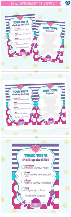 doc mcstuffins check list, check up and diagnosis prints Doc Mcstuffins Birthday Party, 5th Birthday Party Ideas, Kids Party Themes, Toy Story Birthday, Third Birthday, Doctor Party, Birthday Numbers, Free Printables, Easter Printables
