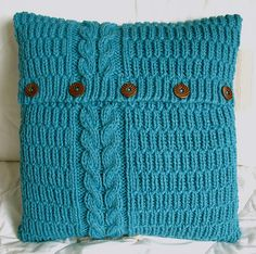 reflected cable & rib cushion cover in turquoise | por A Crooked Sixpence