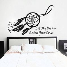 GECKOO Dream Catcher Wall Decal Native American Feathers Bedroom Wall Sticker (Medium, Black)