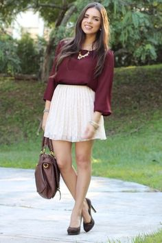 badd931cf78 dark brown Nine West shoes   dark brown Mimi Boutique bag   beige Forever 21  skirt   crimson Forever 21 blouse