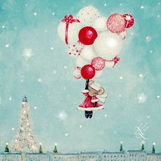 Twas the Night Before Christmas and all through Paris not a creature was stirring except for Miss Mouse. My latest Christmas Painting #krislangenbergart