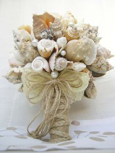 Sea Shell Bouquet Bridal Beach Wedding By Superlunary