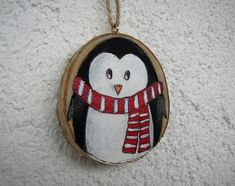 Hand painted Christmas ornament - great to decorate your home or your Christmas tree, will look great at any place. Perfect for an ornament exchange party too! - Size of the birch wood slice is about 2.75 (7 cm) and about 3/8 thick (~1 cm). - Ornament is hand painted with acrylic paint
