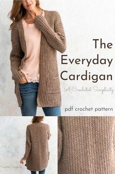 Knit Cardigan Pattern, Sweater Knitting Patterns, Crochet Patterns, Crochet Cardigan Pattern Free Women, Free Knitting Patterns For Women, Knit Crochet, Crochet Tops, Free Crochet, Crochet Clothes