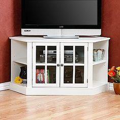 White Corner Media Stand