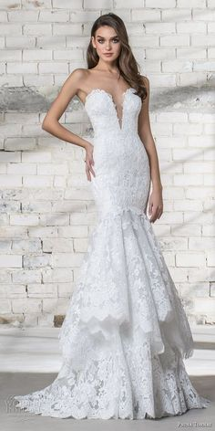 pnina tornai 2019 love bridal strapless deep plunging sweetheart neckline full embellished tiered skirt elegant romantic mermaid wedding dress corset back sweep train (14) mv