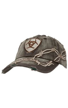 bba994e1074 Ariat® Distressed Brown with Barbwire Embroidery Logo Cap