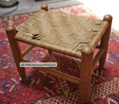 Vintage Antique Handmade Woven Oak Wood Wooden Foot Stool Small Bench Post-1950