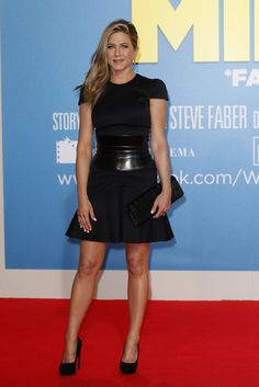23ee24e655 Jennifer Aniston donned a short black Alexander McQueen dress and high  black pumps to take on the red carpet for her Berlin premiere of We re the  Millers