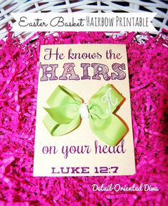 Today I bring you this hairbow printable based on Luke 12:7.  You could easily change it up with a comb or cool-colored hair gel for a boy.  To insert a bow, just make a cut in the center of the card and insert the bow. Printable links for blog subscribers above each of the following pictures.  Personal-use only, please.