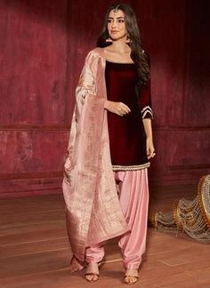 Maroon and Pink Velvet Punjabi Suit with Brocade Dupatta – Lashkaraa