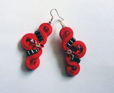Handmade Soutache earrings, swarovski, hematite - Seraphina