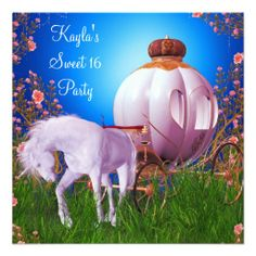Horse Carriage Princess Birthday Party Announcement