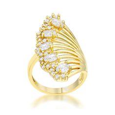 Natalie 14k Gold Art Deco Contemporary Ring   2.5 Carat  Cubic Zirconia
