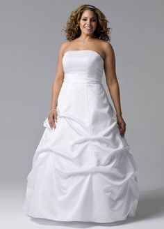 Fashion Bug Satin Pick-up Ball Gown Wedding Dress with Sash. www.fashionbug.us #curvy #plussize #FashionBug