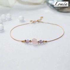 Bracelet fin en plaqué or gold filled, doré, rose et violet : Bracelet par lomea