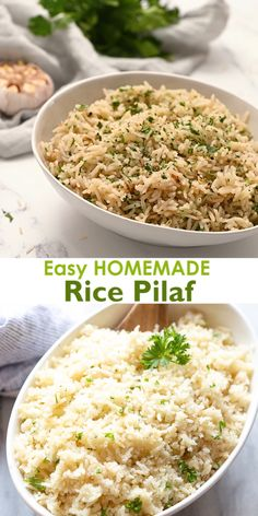 Lets all agree to set aside boring white rice or boxed rice mixes because this homemade Rice Pilaf recipe is EASY flavorful and so versatile it can be served with almost anything! White Rice Recipes, Rice Recipes For Dinner, Easy Rice Recipes, Side Dish Recipes, Healthy Recipes, Healthy Brown Rice Recipes, Leftover Rice Recipes, Jasmine Rice Recipes, Basmati Rice Recipes