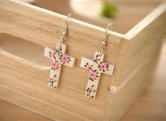 Floral Cross Earrings