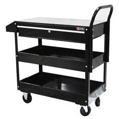 Excel 36.8 in. W x 15.6 in. D x 37.6 in. H Each Steel Tool Cart in Black-TC301C-Black - The Home Depot