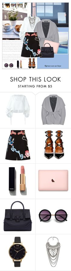 """""""Untitled #1489"""" by grace-eun-ae-boye ❤ liked on Polyvore featuring Talulah, Delpozo, Balmain, Temperley London, Valentino, Chanel, Versace and Olivia Burton"""