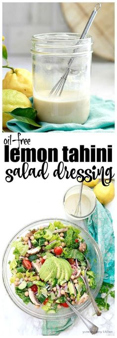 Lemon Tahini Salad Dressing - Yummy Mummy Kitchen This delicious and easy vegan lemon tahini dressing is oil-free and perfect on salads. It's made with just a few simple ingredients like apple cider vinegar, tahini, maple, and lemon. Oil Free Salad Dressing, Tahini Salad Dressing, Salad Dressing Recipes, Salad Recipes, Salad Dressing Healthy, Vegan Sauces, Raw Vegan Recipes, Vegan Foods, Vegetarian