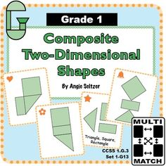 Grade 1 Multi-Match Game Cards for Composite Two-Dimensional Shapes: This set of 36 game cards will help children understand how to decompose shapes into rectangles, triangles, and other shapes (CCSS 1.G.2). The G is for Geometry. ~by Angie Seltzer