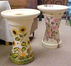Painted Flower Pot Bird Baths