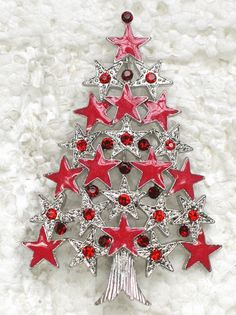 Red Rhinestone Crystal Stars Christmas Tree Pin Brooch C676   eBay