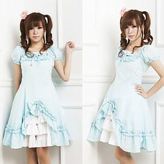 Short Sleeve Knee-length Blue Cotton Country Lolita Dress – USD $ 99.99