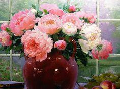 Victor Nizovtsev, Still Life, Peonies, Fairy Tales, Floral Wreath, Illustration Art, Vase, Wreaths, Nature