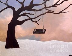 Tree Swing Greeting Card featuring the painting Giving Tree by Jilian Cramb - AMothersFineArt Tree Canvas, Canvas Art, Canvas Prints, Lone Tree, Custom Greeting Cards, Muted Colors, Canvas Material, Traditional Art, Fine Art America