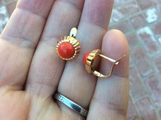 18K Gold and Coral Earrings 3.8 Grams | eBay