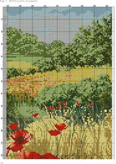 Host of Poppies 5 Cross Stitch Rose, Cross Stitch Flowers, Cross Stitch Charts, Cross Stitch Designs, Cross Stitch Embroidery, Embroidery Patterns, Cross Stitch Patterns, Cross Stitch Landscape, Scenery Pictures